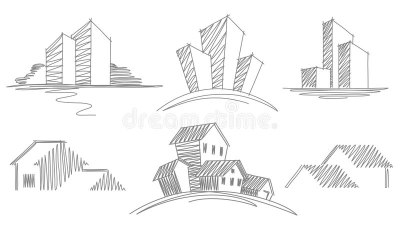Download Sketches of buildings stock vector. Illustration of house - 18639151