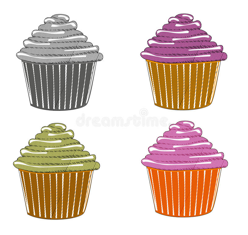 Sketches of cupcake vector illustration
