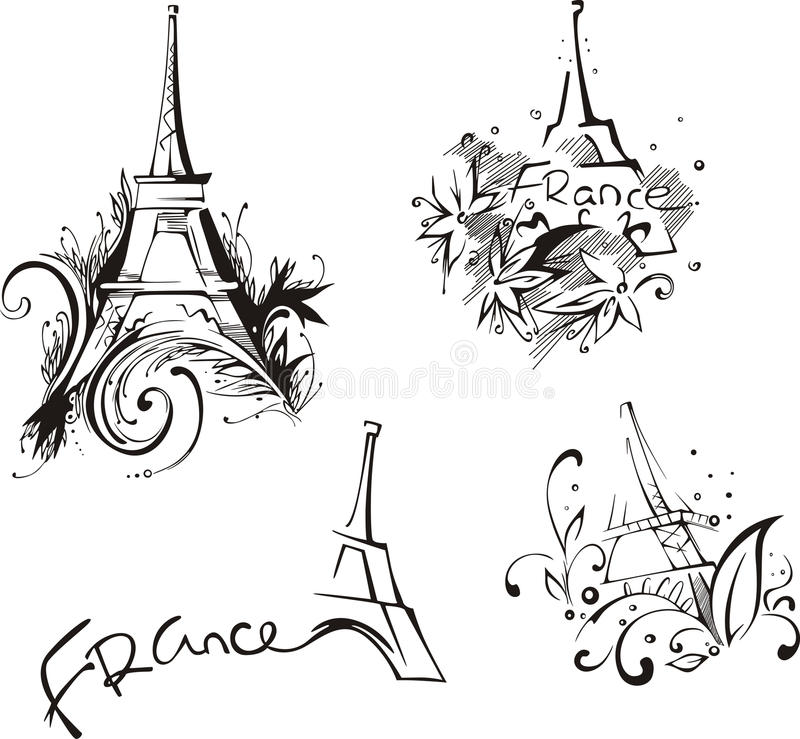 Download Sketches with Eiffel Tower stock vector. Image of illustration - 30136924