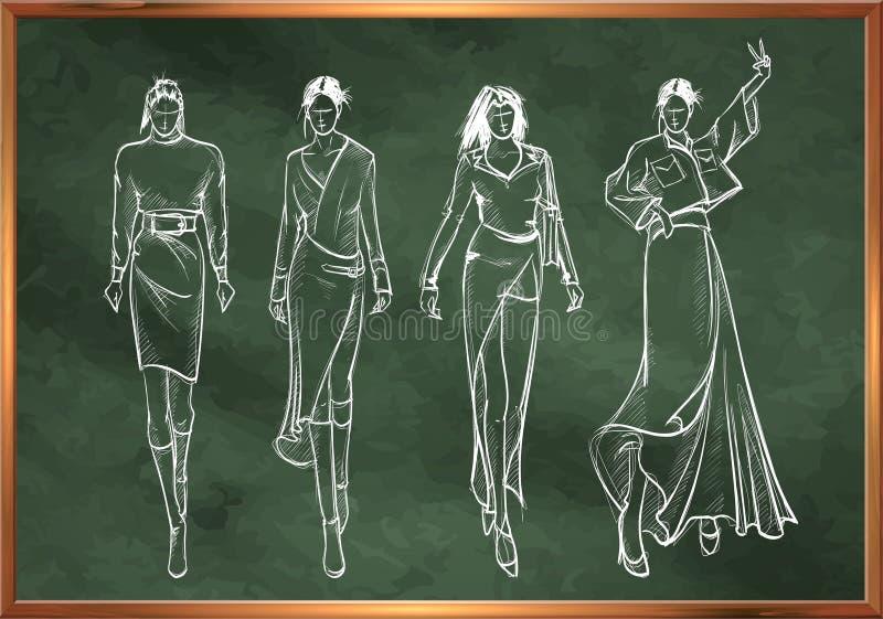 Sketches of fashion girls in chalk style on a school blackboard. Stylish fashion models. Young girls. Fashion womans Sketch royalty free illustration