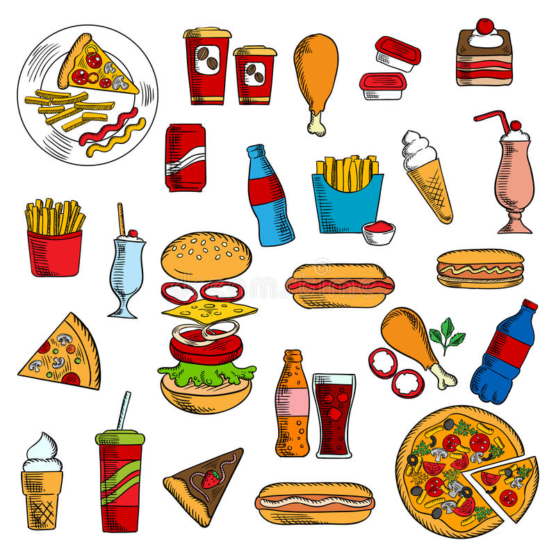 Sketches of fast food and desserts. Cheeseburger and pepperoni pizza, hot dog with ketchup, mustard and mayonnaise, french fries and fried chicken legs, pie and royalty free illustration
