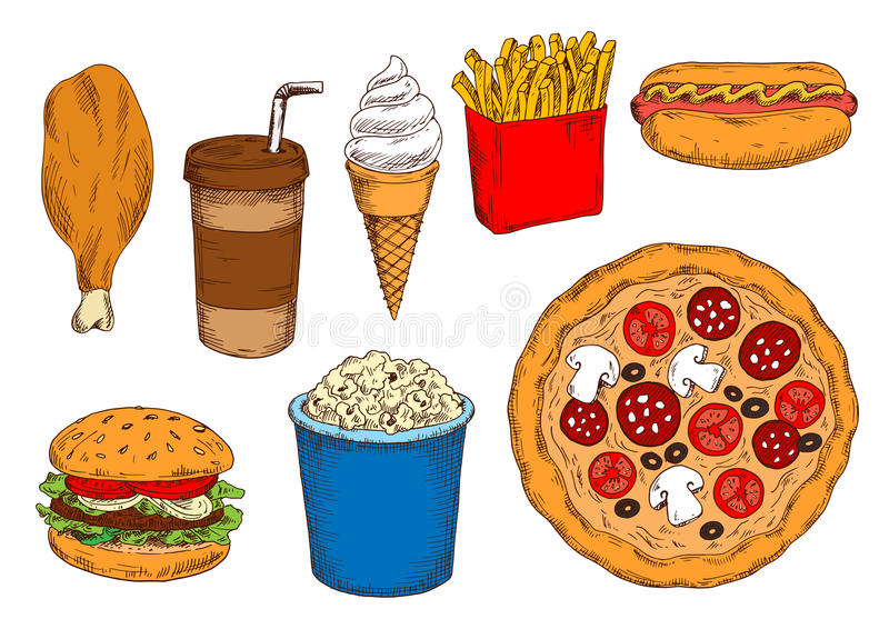 Sketches of fast food lunch with coffee, ice cream stock illustration