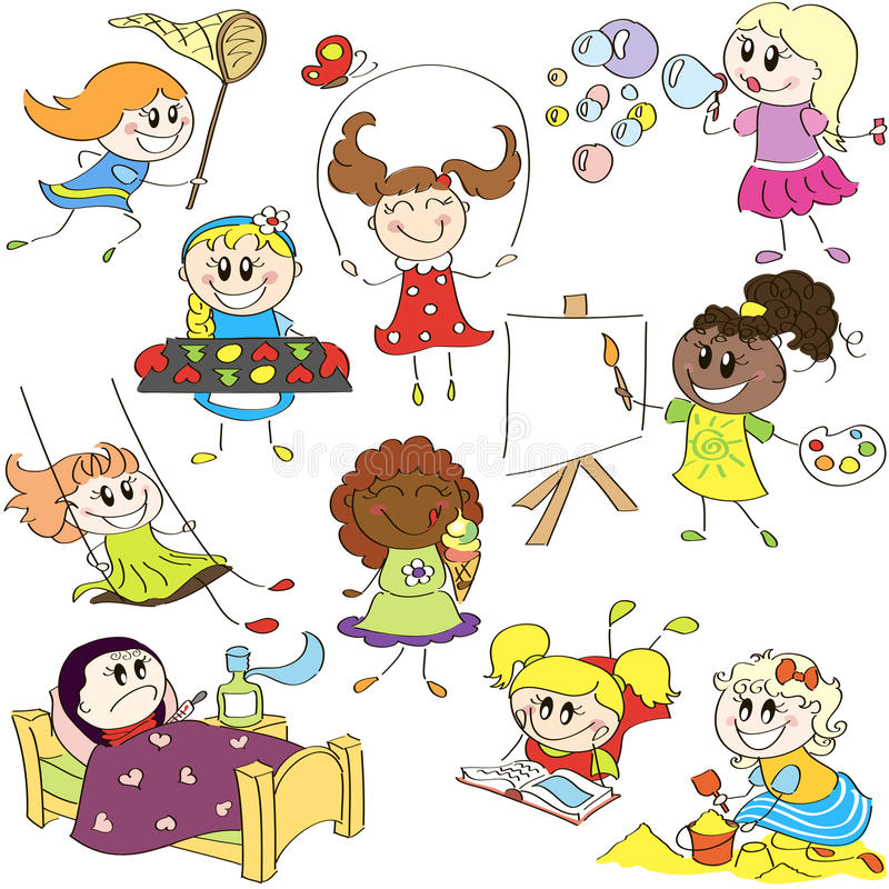 Download Sketches of girls stock vector. Image of friends, cute - 24282125