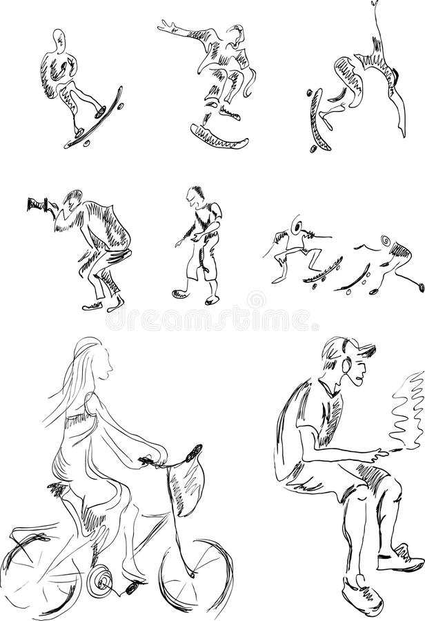 Download Sketches Of Group Of Active People Stock Vector - Image: 12396618