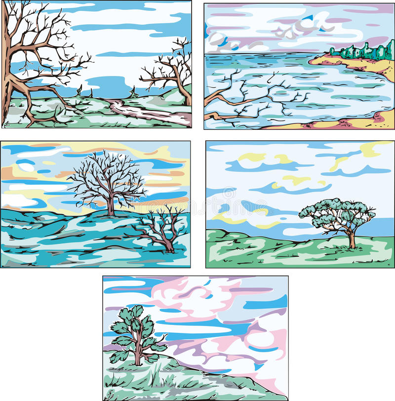 Download Sketches Of Landscapes With Trees Stock Vector - Image: 26464369
