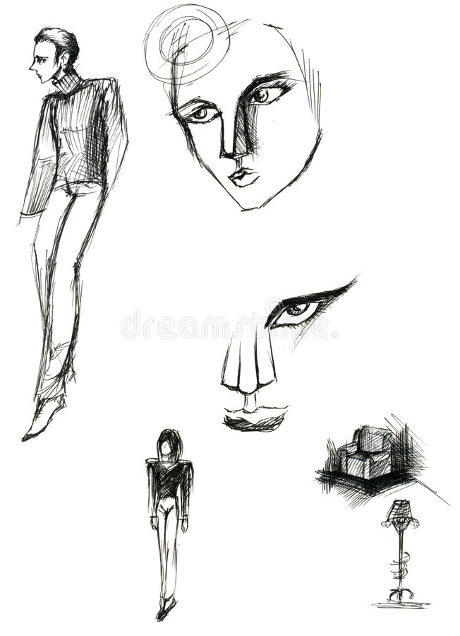 Download Sketches Of Man And Furniture Stock Illustration - Image: 8657997