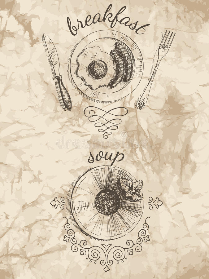 Sketches for menu of food stock illustration