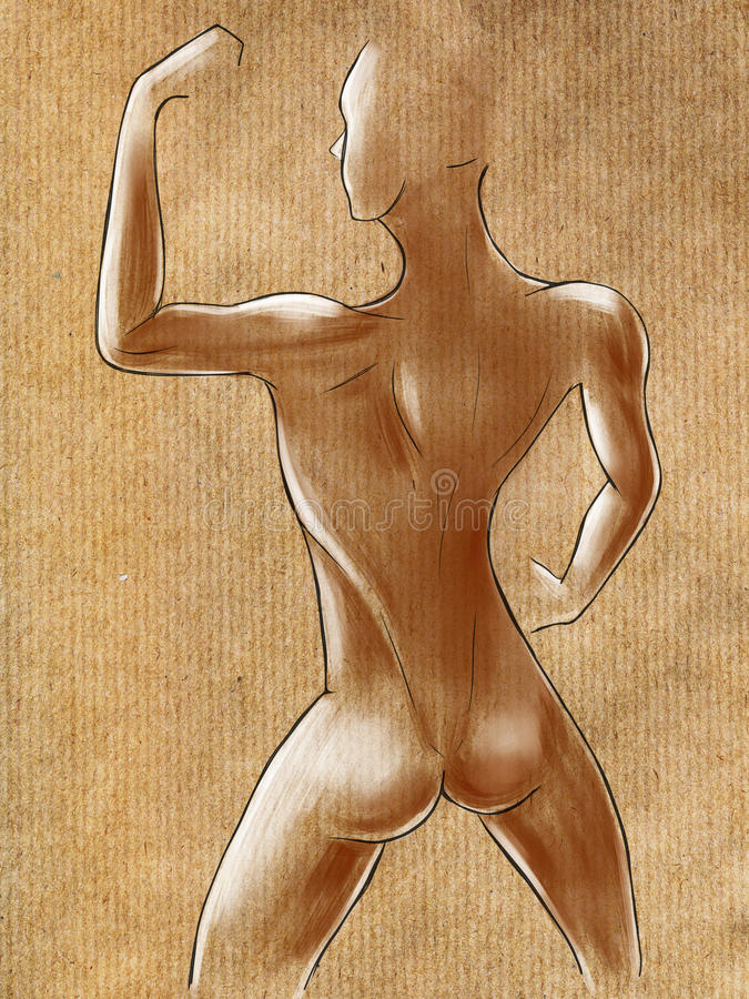 Sketches of muscular female figure vector illustration