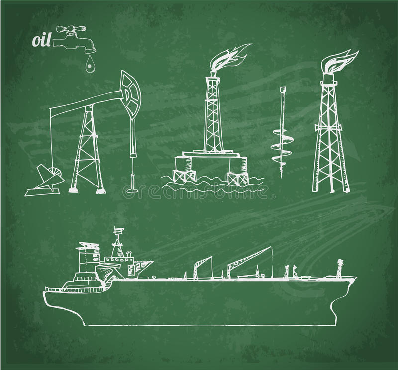 Sketches of oil objects royalty free illustration