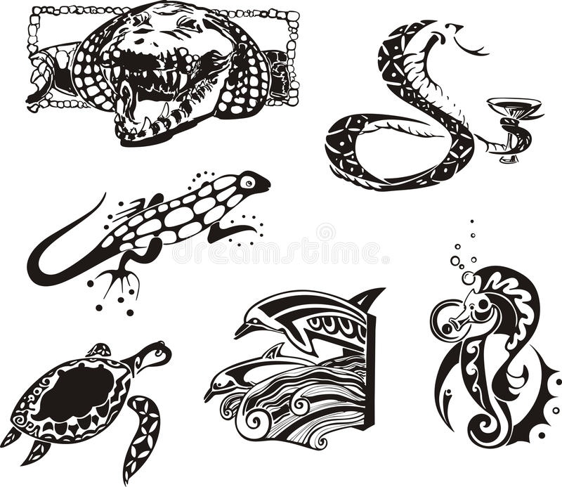 Sketches Of Reptiles And Sea Animals Royalty Free Stock Photos