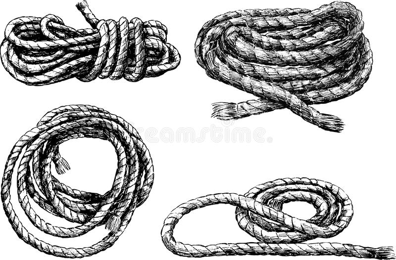 Sketches of skeins of rigging rope vector illustration