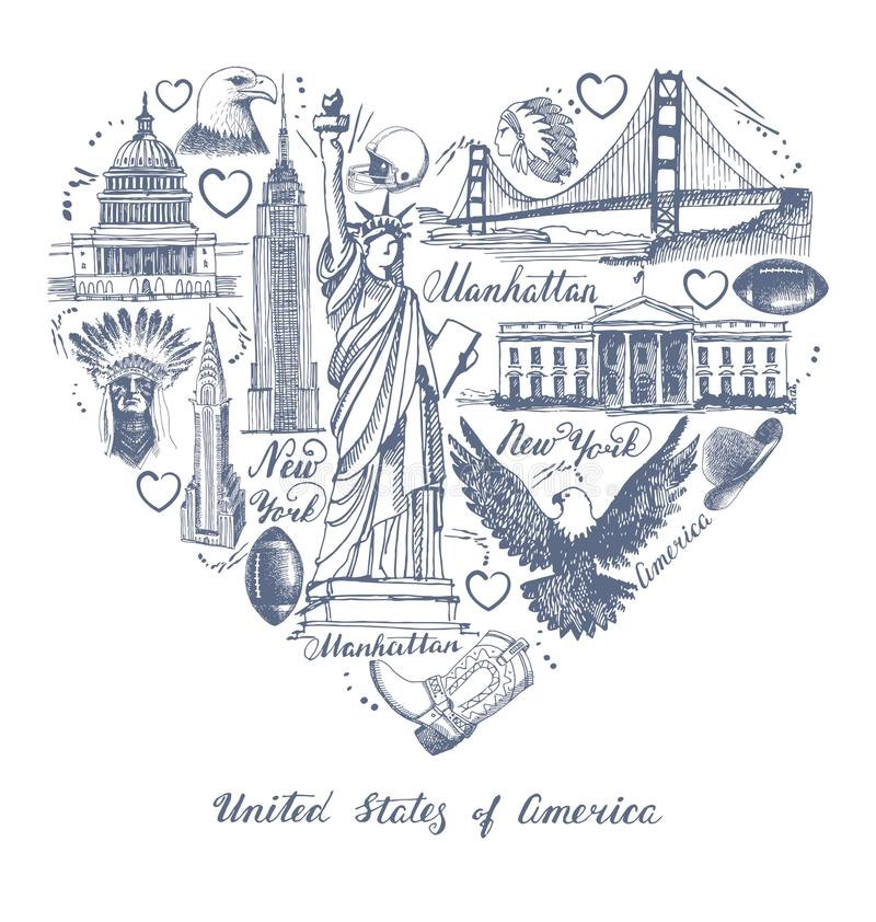 Sketches of symbols of the USA in the form of a heart royalty free illustration