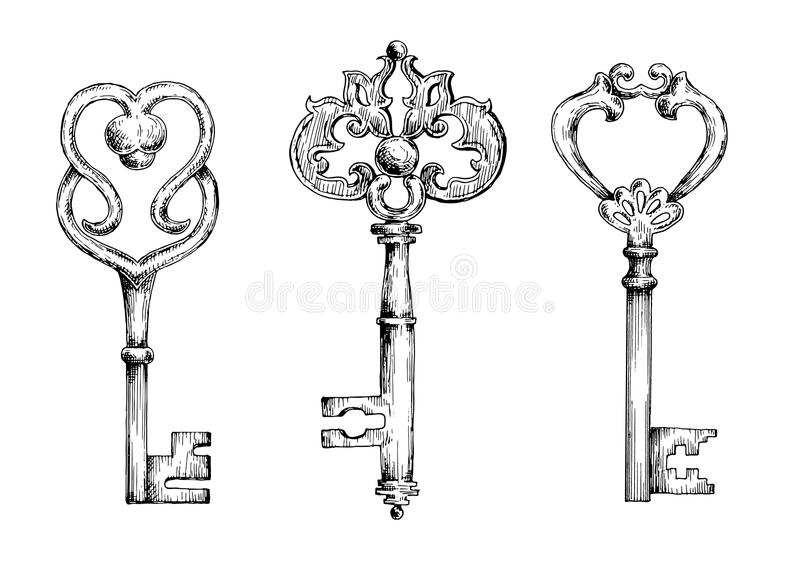 Sketches of vintage keys or skeletons royalty free illustration