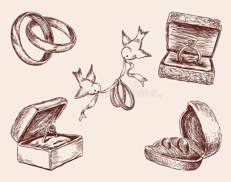 Sketches of the wedding rings stock illustration