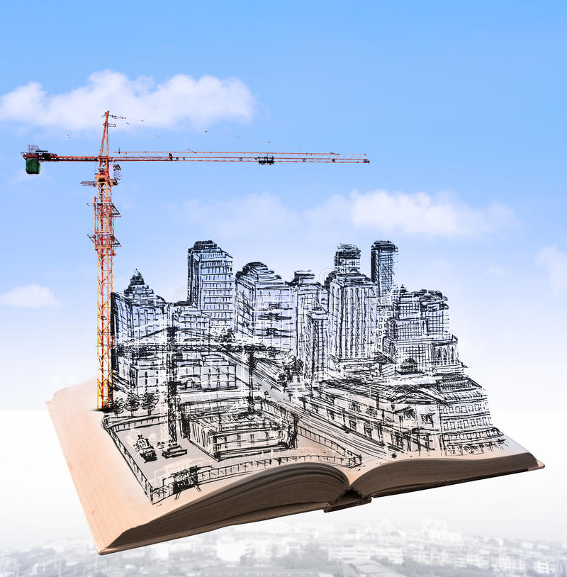 Sketching of building construction on flying book over urban scene use for civil engineering and land development topic stock photography