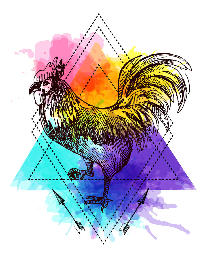 Sketching of. Beautiful hand drawn vector illustration sketching of cock. Tattoo style drawing. Use for postcards, print for t-shirts, posters.rSymbol of 2017 stock illustration