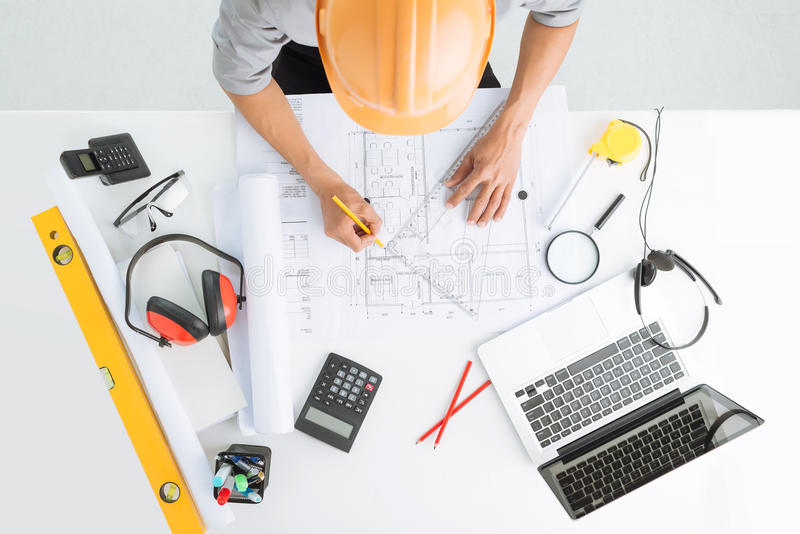 Download Sketching A Construction Project Stock Photo   Image Of Draft,  Drawing: 46225298