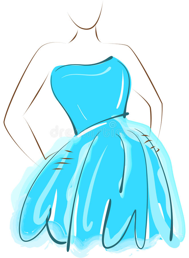 Sketching girl in blue dress. Sketch of abstract girl posing in blue dress royalty free illustration
