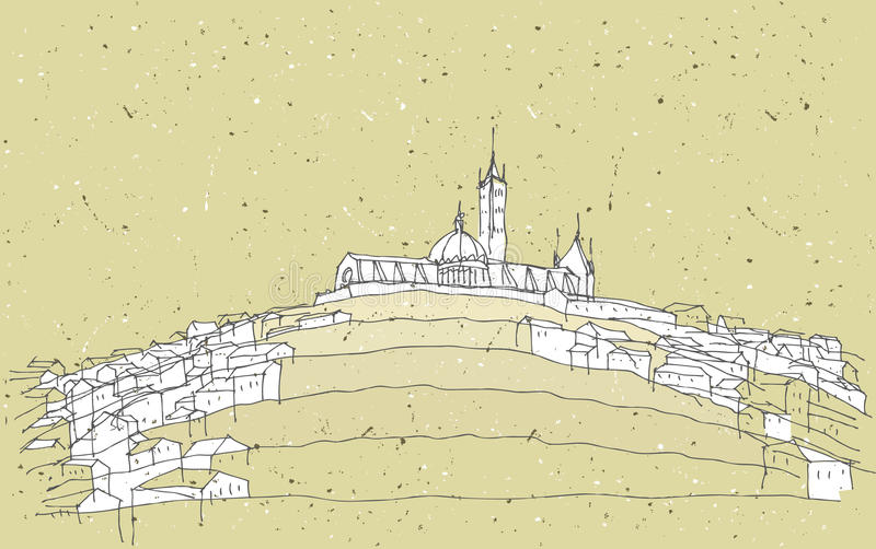 Sketching Historical Architecture in Italy royalty free illustration