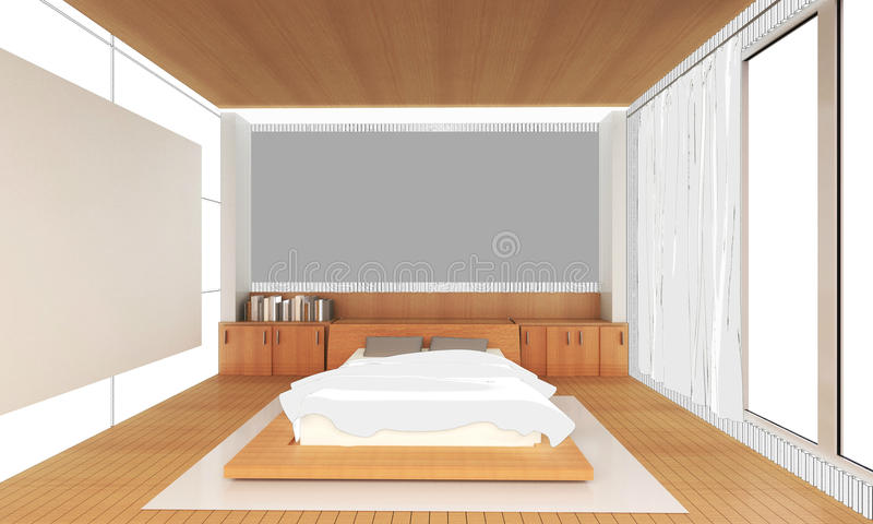 Sketching Interior bedroom Idea house and Decoration royalty free illustration