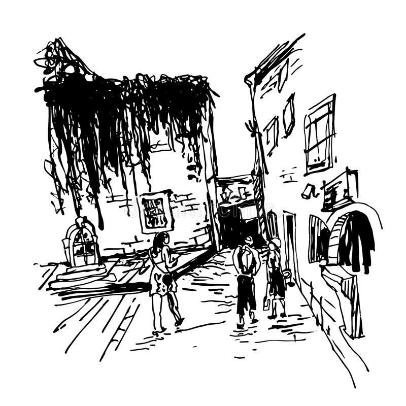 Sketching of old building with clambering plant and people. Black and white sketching of old building with clambering plant and people walking in old town Budva stock illustration
