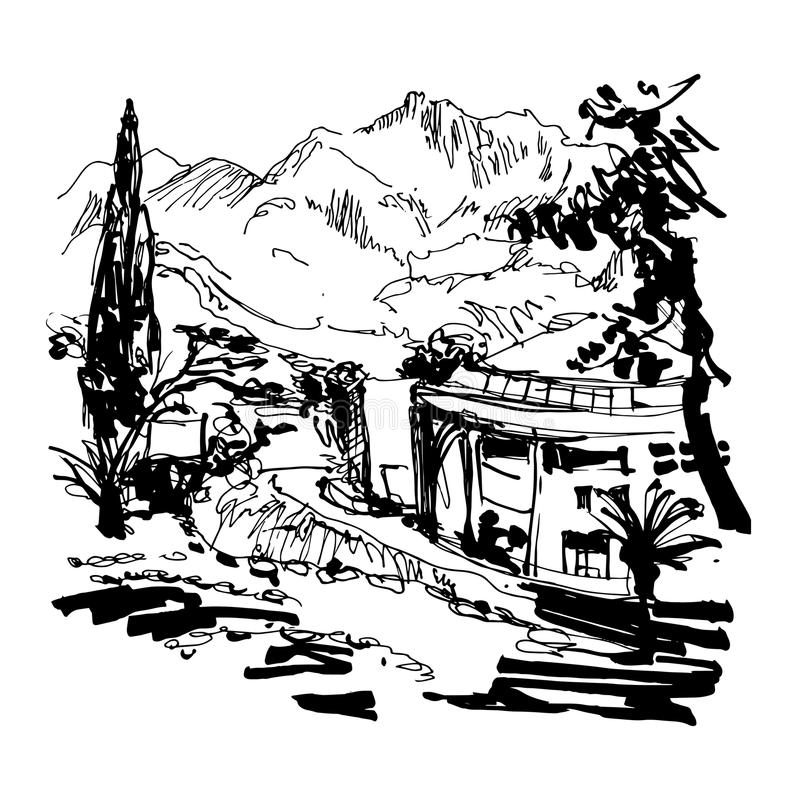 Sketching of park alley view with trees cypress and mountain. Black and white sketching of park alley view with trees cypress and mountain in Budva Riviera stock illustration
