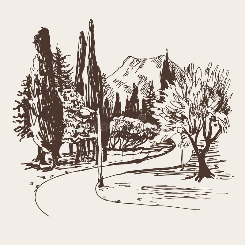 Sketching of park alley view with trees cypress and mountain in. Budva Riviera Montenegro (slovenska plaza hotel), travel vector illustration stock illustration