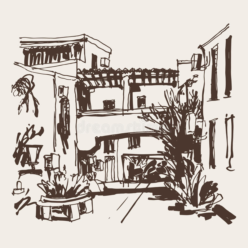 Sketching of street in hotel complex Slovenska Plaza in Budva Ri. Viera Montenegro, travel vector illustration stock illustration