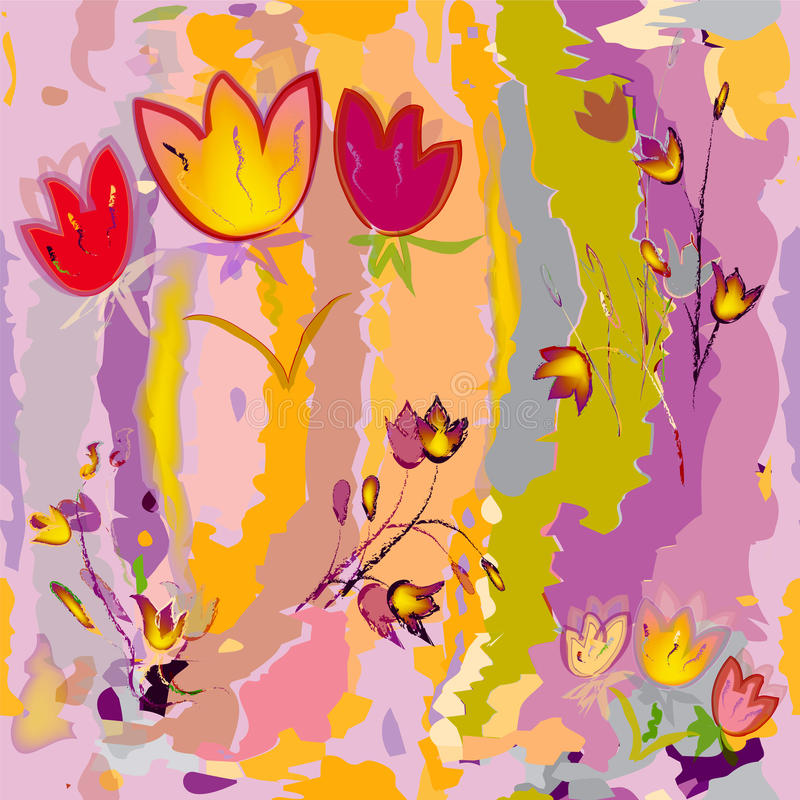 Sketching stylized tulips on colorful watercolor background royalty free illustration