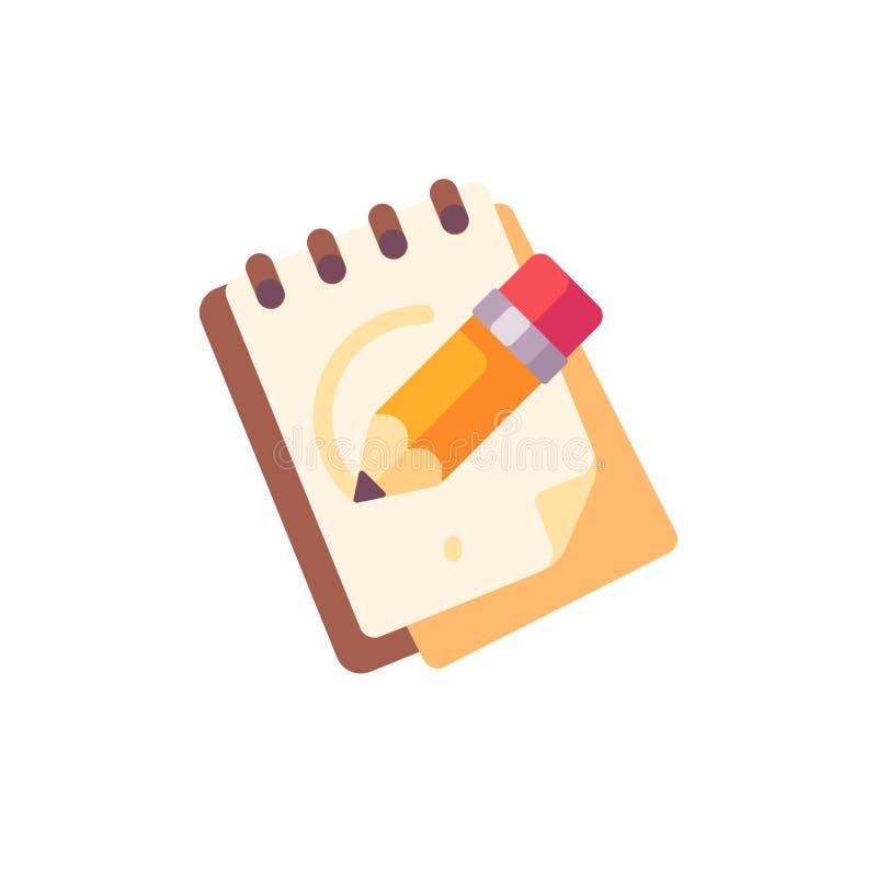 Sketchpad z ołówkową płaską ikoną ilustracji