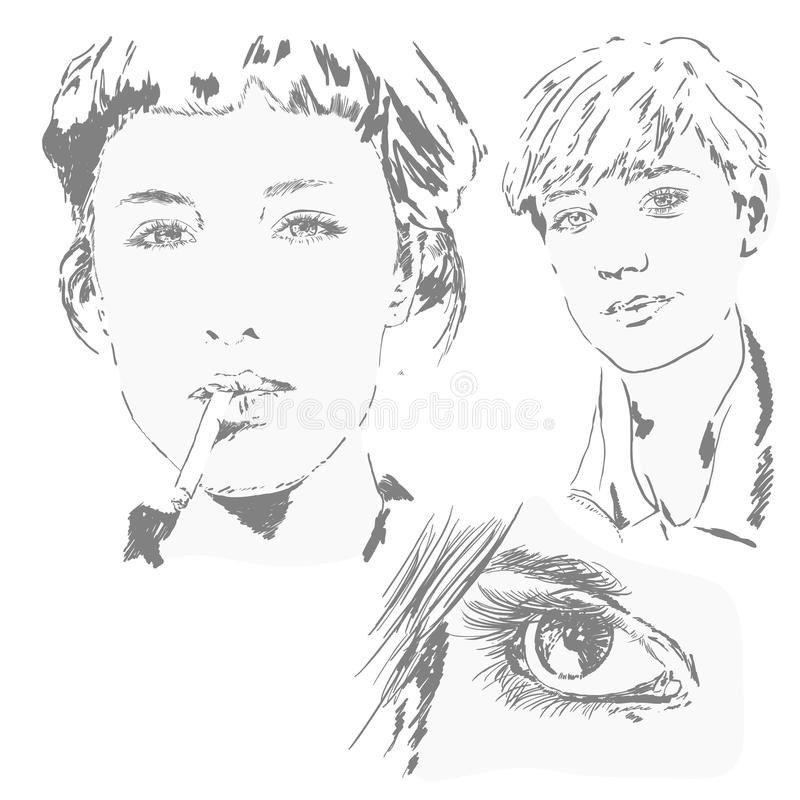 Sketchs of woman faces stock images