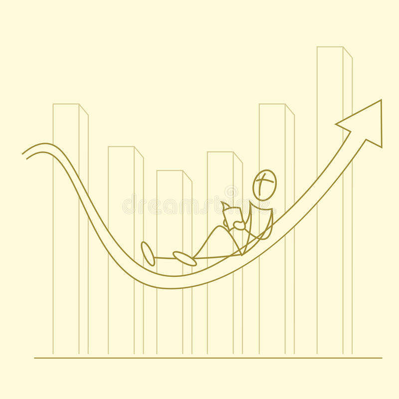 Sketchy businessman on graph. Illustration of sketchy businessman on graph royalty free illustration