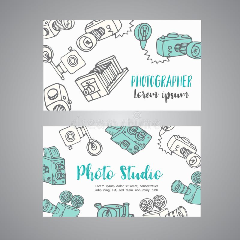 Sketchy bussines card for photographer. hand drawn doodle cartoon retro photo cameras, vector illustration vector illustration