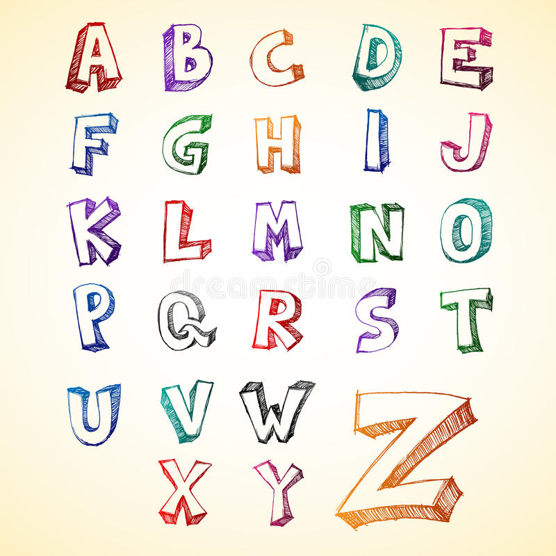Download Sketchy Capital Alphabet stock illustration. Image of calligraphy - 14460801