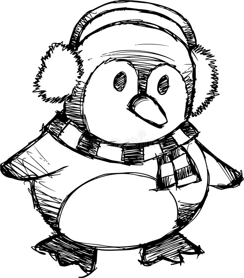 Sketchy Christmas Penguin Vector Stock Vector - Illustration of illustration, love: 9972180