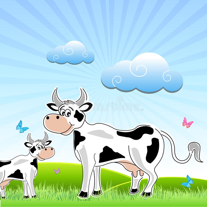 Sketchy cow with mammal in field. Illustration of sketchy cow with mammal in field stock illustration