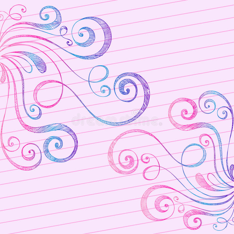 Sketchy Doodle Swirls on Notebook Paper stock illustration