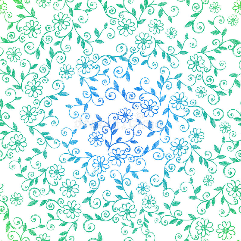 Sketchy Doodle Vines Seamless Repeat Pattern royalty free illustration