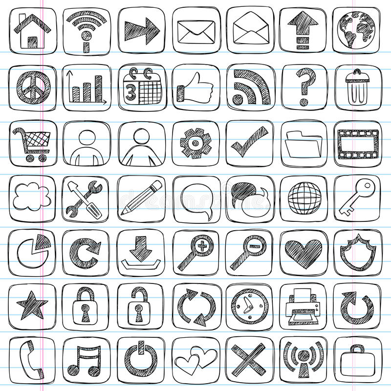 Sketchy Doodle Web Icon Computer Design Elements vector illustration
