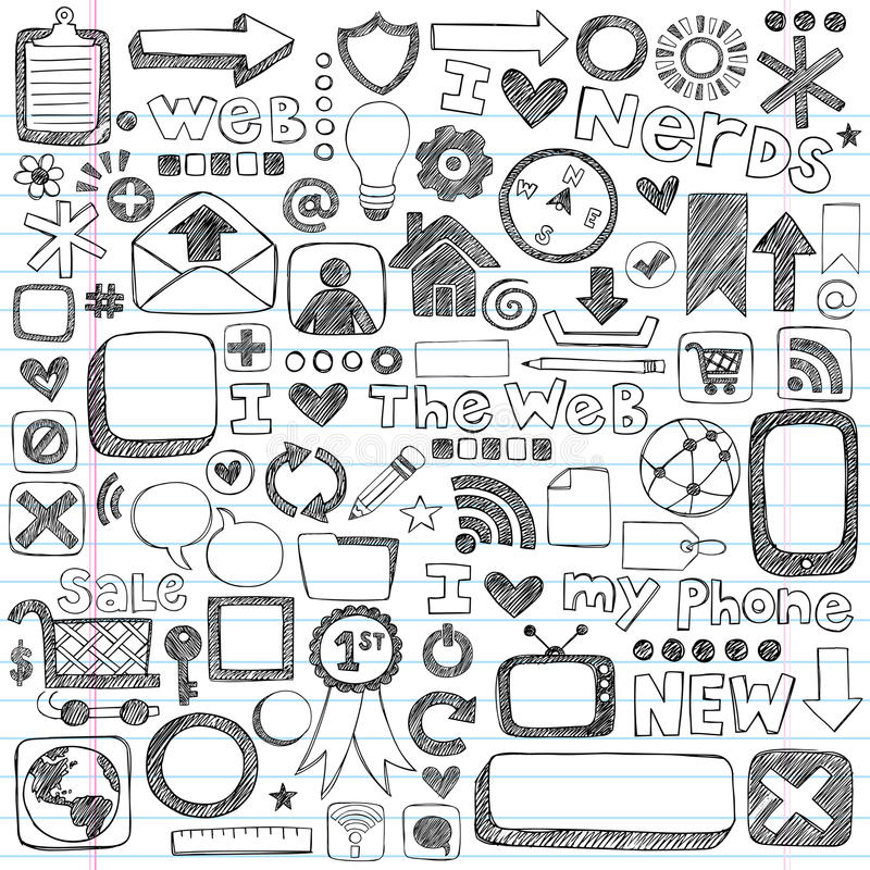 Sketchy Doodle Web Icon Computer Design Elements stock illustration