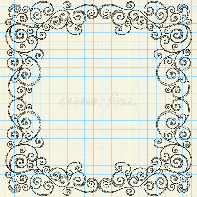 Sketchy Doodles Border On Notebook Paper Stock Vector ...