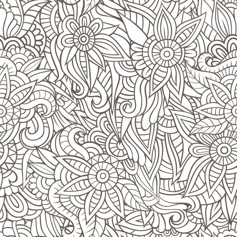 Sketchy doodles decorative floral outline. Ornamental seamless pattern stock illustration