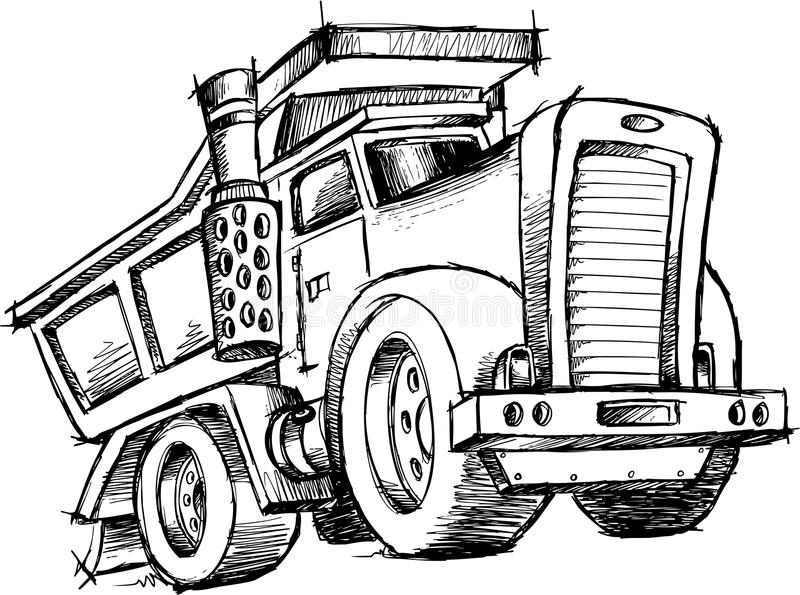 Sketchy Dump Truck Vector stock illustration