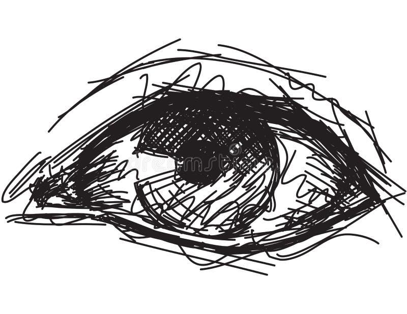 Sketchy eye. Sketchy, hand drawn human eye stock illustration
