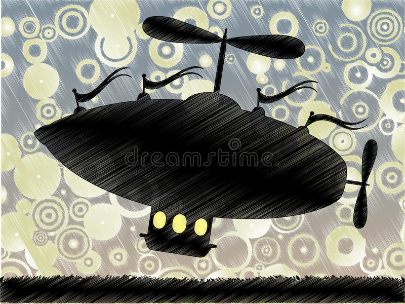 Sketchy Fantasy Airship Lifts Blue Yellow Circle Stock Photography
