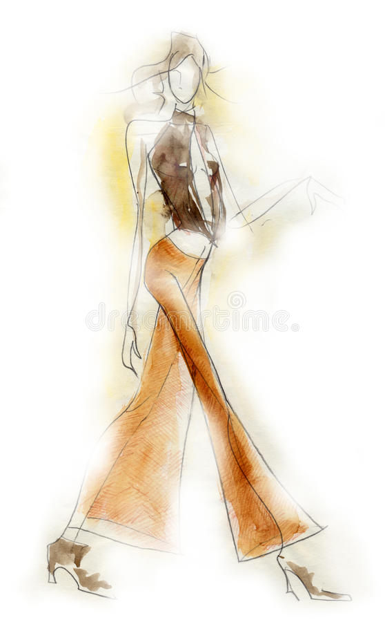 Sketchy Fashion Illustration stock illustration