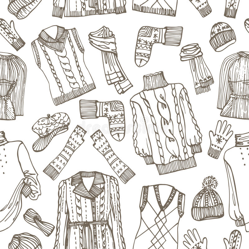 Sketchy Females knitted clothing seamless pattern royalty free illustration