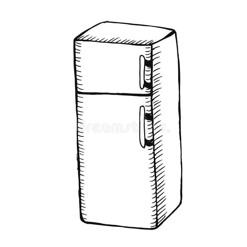 Sketchy fridge on white background. stock images