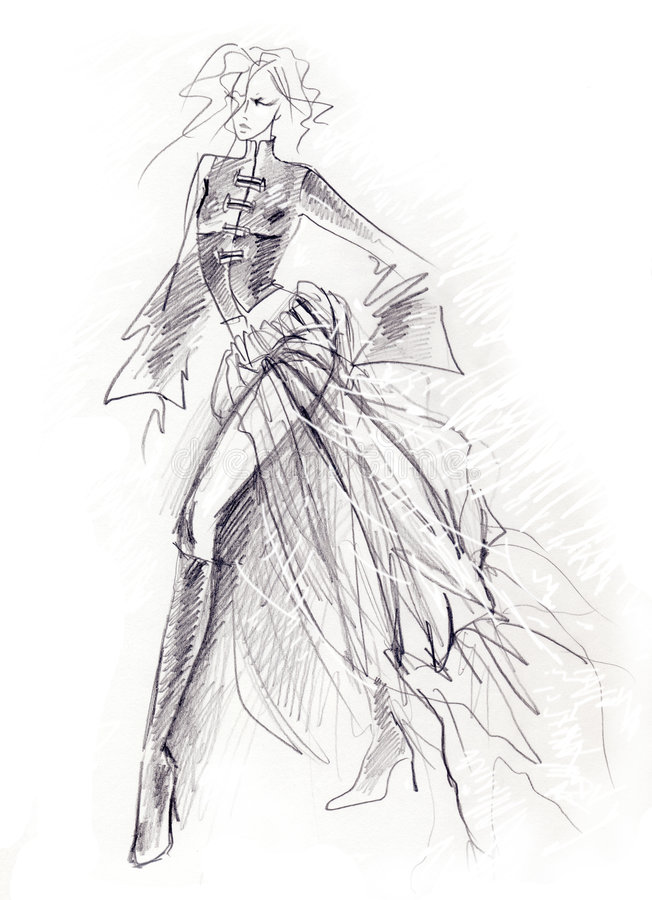 Download Sketchy Gothic Girl stock illustration. Image of dynamic - 5252742