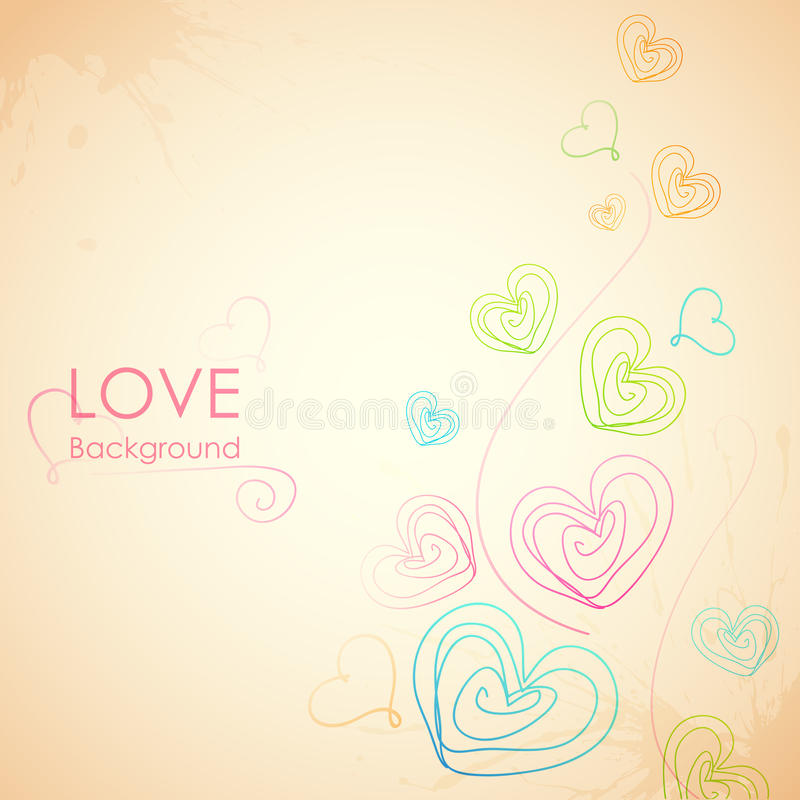 Sketchy Heart in Love Background stock illustration